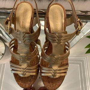 Audrey Brooke,  gold leather wedge.  Size 7.5